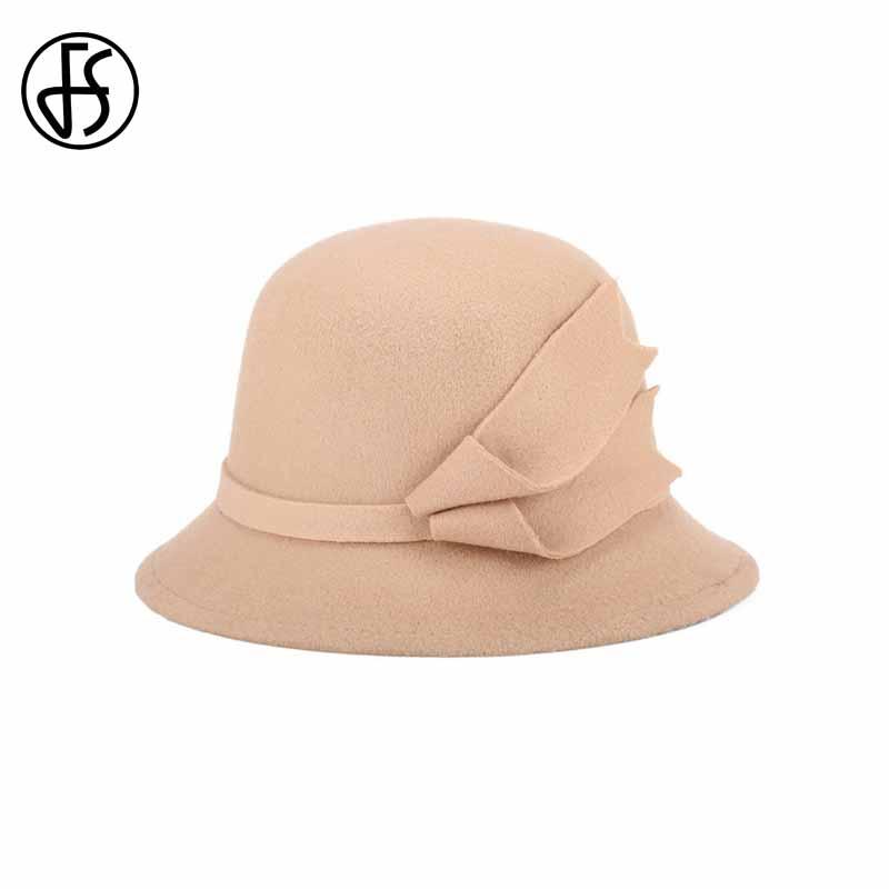 FS 2017 Bucket Hats Wide Brim Felt Bowler Fedora Hat Black Khaki New Autumn Winter Fisherman Caps For Women Cloche Cap