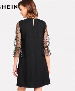SHEIN Botanical Black Embroidery Mesh Dress Women Round Neck Flare آستین Casual Dress 2018 Spring 3/4 آستین Short Dress 1