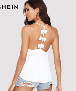 SHEIN White Sexy Boho Bohemian Bow Embellished Open Back Solid Plain Cami Camisole Streetwear Summer Tops for Women Halter Top