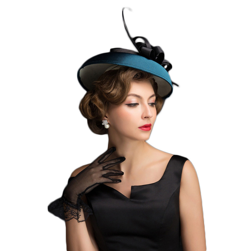 FS Party Wedding Hats and Fascinators Fedora Linen Blue Kentucky Derby Church Hats Classic Fedoras Black Floral 1
