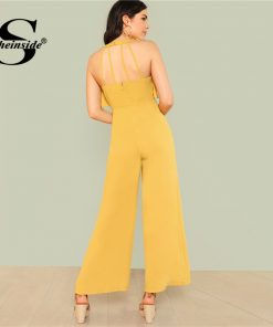Sheinside Ginger Ruffle Wide Leg Jumpsuit Backless Plain Office Ladies Workwear Jumpsuit Summer Women Elegant Jumpsuit 1