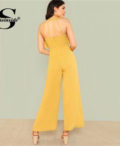 Sheinside Ginger Ruffle Wide Leg Jumpsuit Backless Plain Office Ladies Workwear Jumpsuit Summer Women Elegant Jumpsuit 1