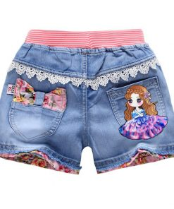 V-TREE Lace Girls Denim Shorts Summer Cartoon Printed Jeans For Teen Girl Kids Sequin Short Pants Beach Children Clothes 1