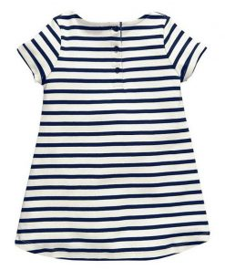 Softu 1-6 Years Baby Girls Short آستین Blue Stripe Summer Dress Cotton Casual Dresses Long Tops Kids Clothing 1