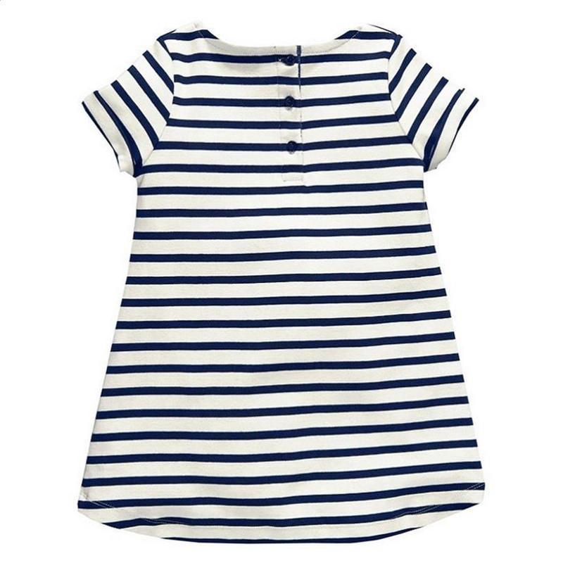 Softu 1-6 Years Baby Girls Short آستین Blue Stripe Summer Dress Cotton Casual Dresses Long Tops Kids Clothing 1