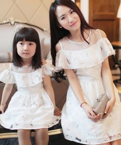Mother Daughter Dresses Girls Lace Clothes White Mom and Daughter Wedding Dress Mommy and Me Fashion Dresses Ruffles Clothing 1