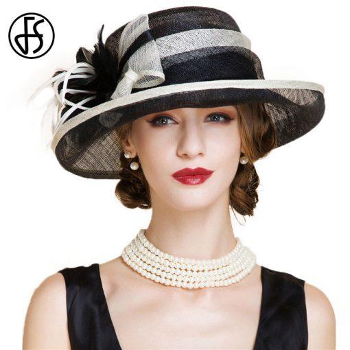 FS Fascinator Black Large Wide Brim Linen Fedora Vintage Floral Hat Summer Womens Church Kentucky Derby Hats