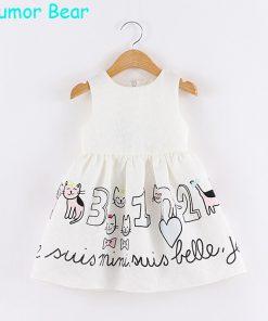 Humor Bear Girls Dress Cartoon Cat Letters Princess Dresses Sleeveless Gril Clothes Children Dress Party Dresses