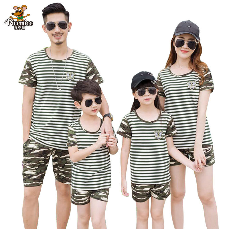 Family Clothing Striped Shirt Camouflage Shorts Family Matching Outfits Cotton Father Son mother daughter Clothes Family Look