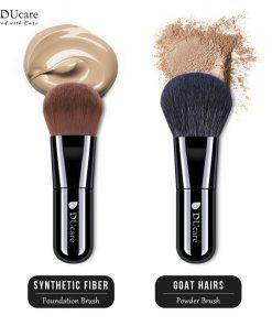 DUcare 2 PCS Foundation Brush Powder Brush Natural Hair Portable Makeup Brushes for Cream Mineral  1