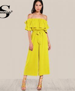 Sheinside Ruffle Off Shoulder Wide Leg Beach Jumpsuit Self Tie Belted High Waist Jumpsuit Women Summer Yellow Elegant Jumpsuit