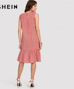 SHEIN Red Pinstripe Ruffle Swing Dress Women Ruffle Round Neck Sleeveless Drop دور کمر Loose Dress 2018 Summer Vacation Dress 1