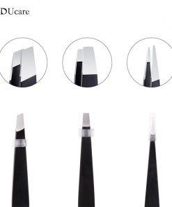 DUcare 3 PCS Eyebrow Tweezers Stainless Steel and 1 PCS Eyebrow Brush Cosmetics Tools Kit 1