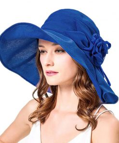FS Women Flower Sun Hat Summer Large Wide Brim Outdooor Foldable Casual Fashion Beach Hats Elegant Ladies Floppy Visor Cap 1