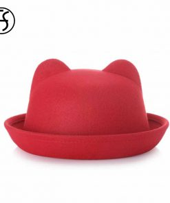 FS Europe England Fall Winter Women Fedoras Caps For Woman Lady Curl Brim Wool Felt Cute Ear Hat Keep Warm More Fashion