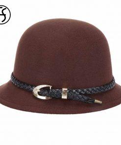 FS Elegant Women Autumn Winter Wool Felt Fedoras Hat Wide Brim Bowler Caps Keep Warm Fashion Belt Lady Cloche Hats