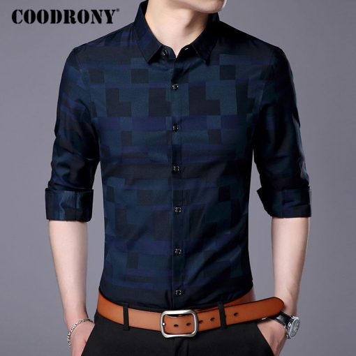 COODRONY Men Shirt Mens Business Casual Shirts 2017 New Arrival Men Famous Brand Clothing Plaid Long Sleeve Camisa Masculina 712 3