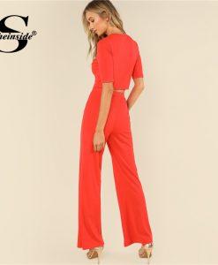Sheinside Orange Crop Top & Wide Leg Pants Two Piece Set Plain Round Neck Short Sleeve Elegant Twopiece Women Summer 2 Piece 1