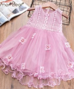 Humor Bear Baby Girls Embroidery Dress 2018 Girl Dress Summer 3D Flowers Design Princess Birthday Party Dress