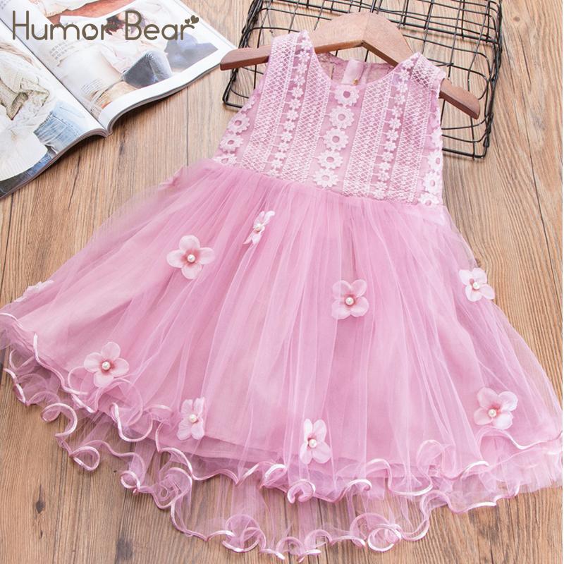 Humor Bear Baby Girls Embroidery Dress 2018 Girl Dress Summer 3D Flowers Design Princess Birthday Party Dress