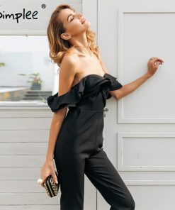 Simplee Sexy off عرض شانه backless black jumpsuit women Tiered ruffle high waist jumpsuit romper Pocket casual overall female 1