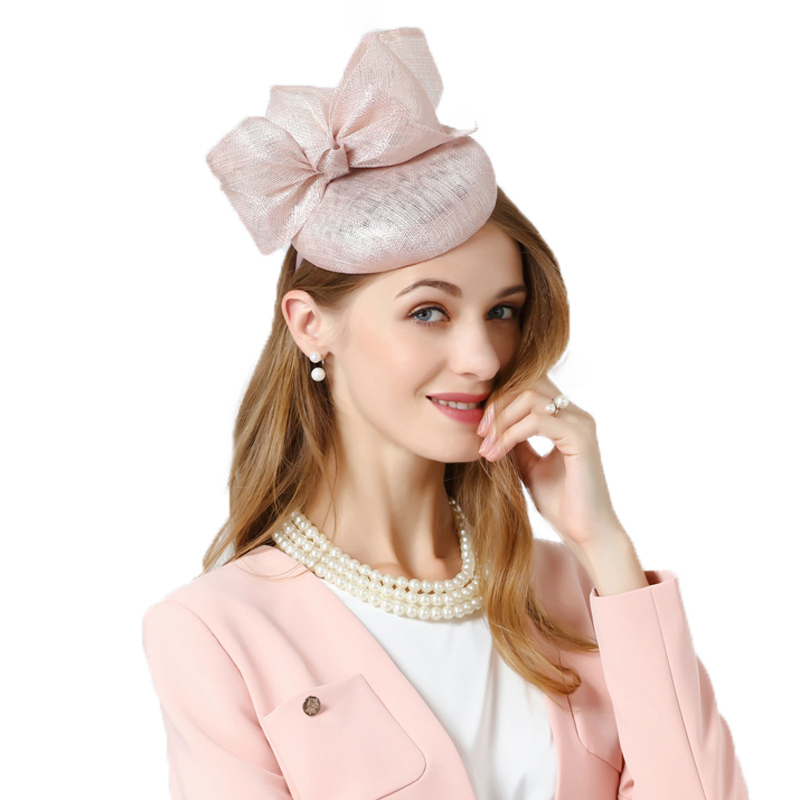 FS Fascinator Hat For Wedding Pink Pillbox Hat With Bowknot Summer Fedora For Women Hair Accessories Linen Church Cocktail Hats 1