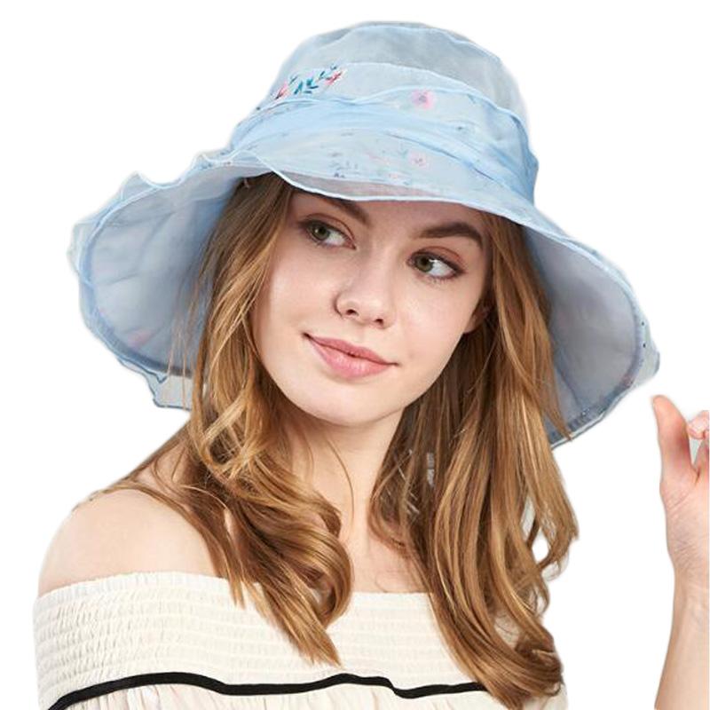 FS 3 Colors Sun Hats for Women High Quality Silk Beach Hats Women Breathable Adjustable Head Circumference Summer Cap 1