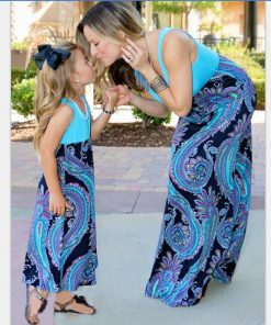 family matching outfits mother and daughter dress long dress sleeveless Hot style family look dress for mom and daughter