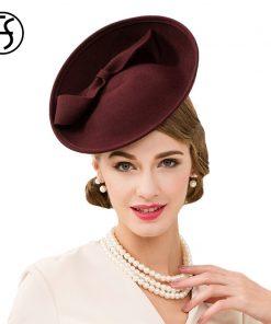 FS 100% Wool Women Cocktail Hats Fascinator Wine Red Pillbox Hat Ladies For Wedding Bow British Church Derby Fedora Chapeau