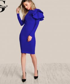 Sheinside One Side Tiered Ruffle Trim Winter Dress 2017 Round Neck Long Sleeve Zip Party Dress Ladies Elegant Bodycon Dress