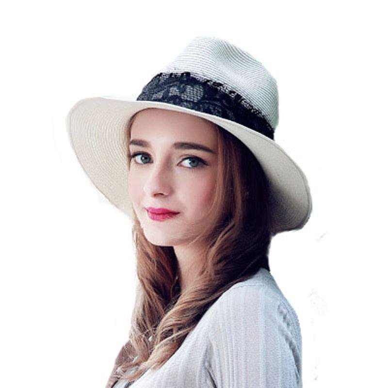 FS Summer Hats For Women White Sun Panama Hats Ladies With Lace Fedora Beach Uv Protect Wide Brim Straw Jazz Cap Sombreros Paja  1