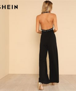 SHEIN Pearl Embellished Backless Halter Wide Leg Party Jumpsuit Black Sleeveless High دور کمر Plain Maxi Women Elegant Jumpsuit 1