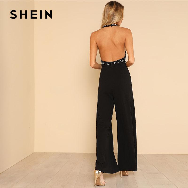 SHEIN Pearl Embellished Backless Halter Wide Leg Party Jumpsuit Black Sleeveless High دور کمر Plain Maxi Women Elegant Jumpsuit 1