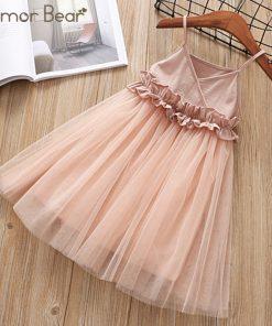 Humor Bear 2018 Girls Mesh Dress Princess Dress Tutu Party Gown Birthday Fashion Baby Clothes Children Summer Clothes 1