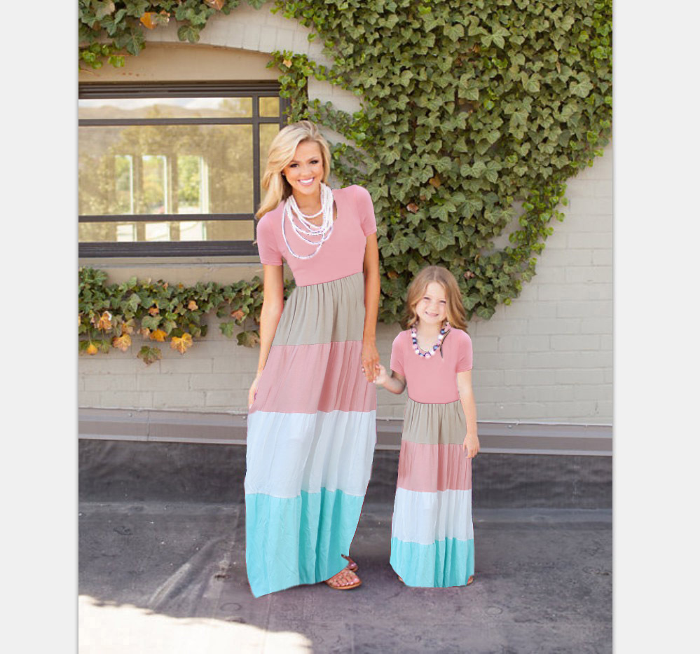 mother and daughter matching clothes long dress women dress 2018 matching family clothes summer casual floral big size dress