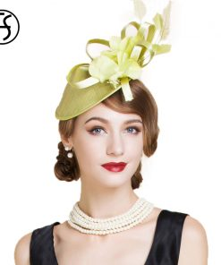 FS Elegant Green Party Cocktail Hats For Women Fascinator Derby Flowers Ladies Red Pillbox Hat Linen Fedora Chapeau Femme Feutre