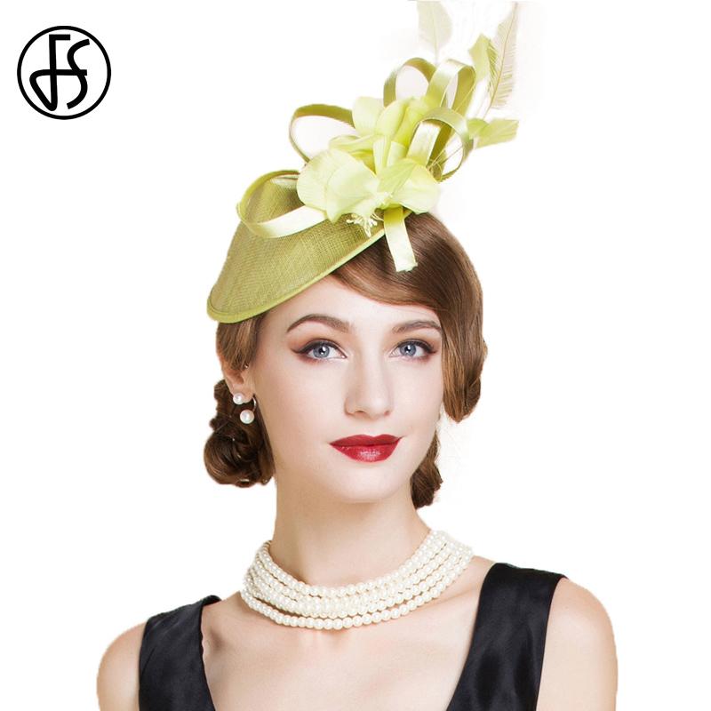 FS Elegant Green Party Cocktail Hats For Women Fascinator Derby Flowers Ladies Red Pillbox Hat Linen Fedora Chapeau Femme Feutre
