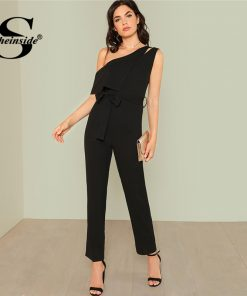 Sheinside Black Asymmetrical Elegant Jumpsuit Office Ladies Workwear High Waist Belted Jumpsuit Summer Women Casual Jumpsuit