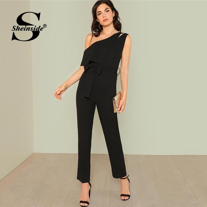 Sheinside Black Asymmetrical Elegant Jumpsuit Office Ladies Workwear High Waist Belted Jumpsuit Summer Women Casual Jumpsuit