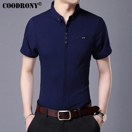 COODRONY 2017 Spring Summer New Business Casual Short Sleeve Shirt With Pocket Pure Cotton Shirt Men Slim Fit Chemise Male S7709 3
