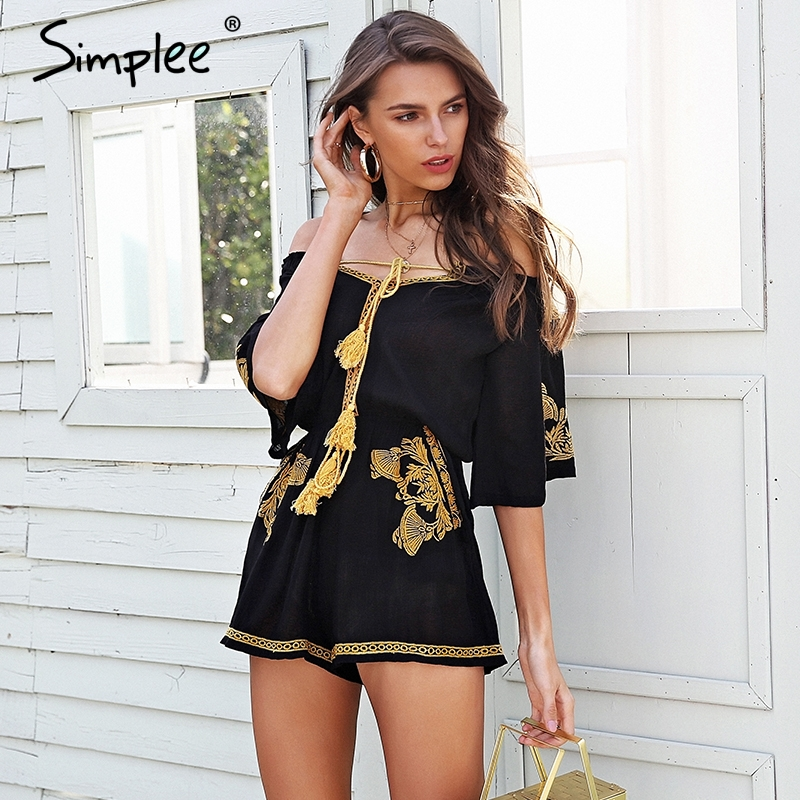 Simplee Off عرض شانه embroidery jumpsuit romper women Lace up tassel ethnic short jumpsuit 2018 Casual summer romper macacao 1