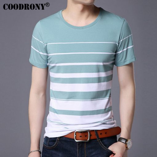 COODRONY Pure Cotton Short Sleeve T-Shirt Men Brand Clothing 2017 Spring Summer New Fashion Striped Print O-Neck Tee Shirt S7633 4