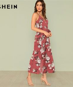 SHEIN Slit Hem Flower Print Cami Jumpsuit 2018 Summer Spaghetti Strap Sleeveless Jumpsuit Women Floral Vacation Belted Overalls 1