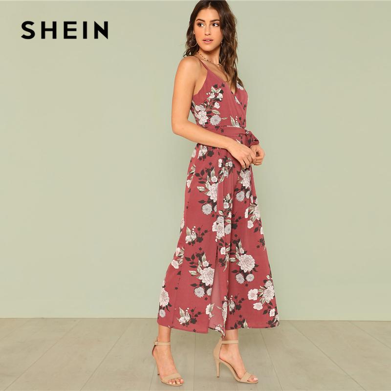 SHEIN Slit Hem Flower Print Cami Jumpsuit 2018 Summer Spaghetti Strap Sleeveless Jumpsuit Women Floral Vacation Belted Overalls 1