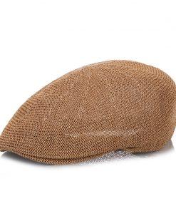 FS 2017 Summer Men Beret Hat Brown Caps Gatsby Casquette Gorras Casual Linen Peaked Cap Sun Visor Breathability Newsboy Hats 1