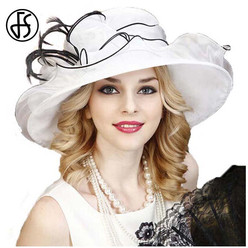 FS Organza Hat For Women White Summer Elegant Wedding Dress Fedoras Large Wide Brim Bow Flat Top Derby Hats Party Church Caps