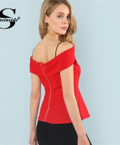 Sheinside Red Ruffle Cold Shoulder Elegant Peplum Top Plain Spaghetti Strap Cap Sleeve Blouse Summer Ladies Slim Fit Blouse 1
