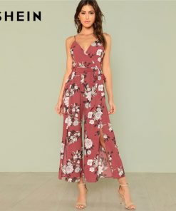 SHEIN Slit Hem Flower Print Cami Jumpsuit 2018 Summer Spaghetti Strap Sleeveless Jumpsuit Women Floral Vacation Belted Overalls