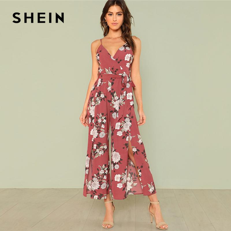 SHEIN Slit Hem Flower Print Cami Jumpsuit 2018 Summer Spaghetti Strap Sleeveless Jumpsuit Women Floral Vacation Belted Overalls