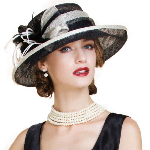 FS Fascinator Black Large Wide Brim Linen Fedora Vintage Floral Hat Summer Womens Church Kentucky Derby Hats 1